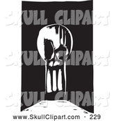 Vector Clip Art of a Creepy Stretched Human Skull by Xunantunich
