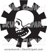 Vector Clip Art of a Creepy White Skull in Profile over a Gear by Xunantunich