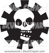 Vector Clip Art of a Creepy White Skull over a Gear in Black and White by Xunantunich