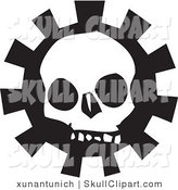 Vector Clip Art of a Creepy White Skull over a Gear on Black and White by Xunantunich