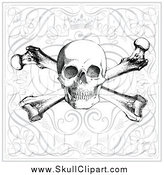 Vector Clip Art of a Crown, Skull and Crossbones over Swirls by BestVector