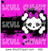 Vector Clip Art of a Cute Girly Skull and Cross Bones over a Grungy Black and Bright Pink Background by Pushkin