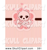Vector Clip Art of a Cute Skull and Crossbones with Pink Hearts over Pink Lines by Pushkin