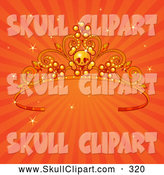 Vector Clip Art of a Cute Skull Tiara over Sparkly Orange Rays by Pushkin