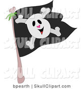 Vector Clip Art of a Cute Smiling Skull and Crossbones on a Black Jolly Roger Pirate Flag by