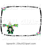 Vector Clip Art of a Dancing Skeleton Doing a Jig in the Corner of a Stationery Background with a Border of Black Branches and Purple Flowers by
