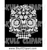Vector Clip Art of a Day of the Dead Skull in Black and White by Lineartestpilot