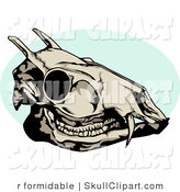 Vector Clip Art of a Dead Deer Skull with a Blue Circle by R Formidable