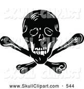 Vector Clip Art of a Deadly Retro Vintage Black and White Skull and Crossbones by Prawny Vintage