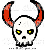 Vector Clip Art of a Demonic Horned Skull by Lineartestpilot