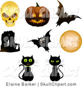 Vector Clip Art of a Digital Collage of Eight Halloween Objects; Skull, Pumpkin, Bats, Cats, Moon and Abbey by Elaineitalia