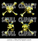 Vector Clip Art of a Digital Collage of Four Gold Skulls with Crossbones by Julos