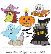 Vector Clip Art of a Digital Collage of Halloween Items on White by Visekart