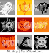 Vector Clip Art of a Digital Collage of Nine Colorful Ghost, Devils Pitchfork, Vampire Bat, Spider, Pumpkin, Candy, Fangs, Witch Hat and Skull Icons by NL Shop