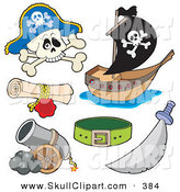 Vector Clip Art of a Digital Collage of Pirate Items on White by Visekart