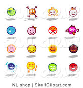 Vector Clip Art of a Digital Collage of Sixteen Colorful Moody Emoticons by NL Shop