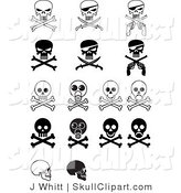 Vector Clip Art of a Digital Collage of Sixteen Evil Skulls and Crossbones by J Whitt