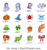 Vector Clip Art of a Digital Collage of Sixteen Holiday Icons: Abraham Lincoln, George Washington, Americana, Holidays and a Bow by NL Shop
