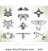 Vector Clip Art of a Digital Collage of Tattoo Design Outlines by AtStockIllustration