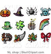 Vector Clip Art of a Digital Collage of Twelve Holiday Icons; Pumpkin, Witch Hat, Spider, Skull, Leprechaun Hat, Clover, Pot of Gold, Rainbow, Turkey, Horn of Plenty, Autumn Leaf and Bow by NL Shop
