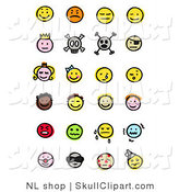 Vector Clip Art of a Digital Collage of Twenty Four Happy, Mad, Depressed, Royal, Skull, Pirate, Children, Crying, Sick and Diverse Emoticons by NL Shop