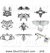 Vector Clip Art of a Digital Group of Tattoo Designs by AtStockIllustration