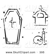 Vector Clip Art of a Digital Set of a Black and White Stenciled Coffin, Tombstone and Skull by BNP Design Studio