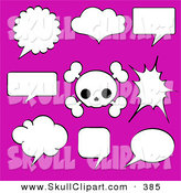 Vector Clip Art of a Digital Set of Black and White Speech Bubbles and a Cute Skull over Pink by Pushkin