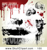 Vector Clip Art of a Digital Set of Black Grungy Skull Marks and Blood by Anja Kaiser