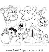 Vector Clip Art of a Digital Set of Halloween Coloring Page Outlines of a Witch, Ghost, Skull, Bat, Pumpkin, Vampire and Cemetery by Visekart