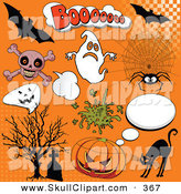 Vector Clip Art of a Digital Set of Halloween Comic Icons on Orange by Pushkin