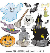 Vector Clip Art of a Digital Set of Halloween Icons by Visekart