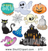 Vector Clip Art of a Digital Set of Halloween Items on White by Visekart