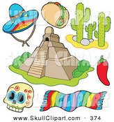 Vector Clip Art of a Digital Set of Mexican Items by Visekart