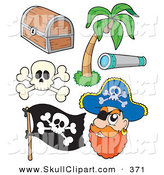 Vector Clip Art of a Digital Set of Pirate Items by Visekart