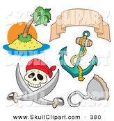 Vector Clip Art of a Digital Set of Pirate Items on a White Background by Visekart