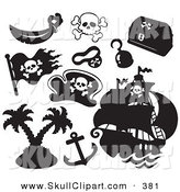 Vector Clip Art of a Digital Set of Pirate Items on Solid White by Visekart