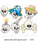 Vector Clip Art of a Digital Set of Skull Faces on White by Visekart