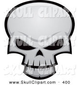 Vector Clip Art of a Evil White Skull with Dark Eye Sockets by John Schwegel