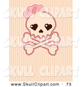 Vector Clip Art of a Female Skull with a Pink Heart over a Stripe Background by Pushkin