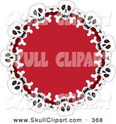 Vector Clip Art of a Festive Red Wreath with Halloween Skulls on White by Maria Bell