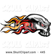 Vector Clip Art of a Flaming Demonic Skull Going Right by Chromaco