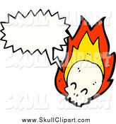 Vector Clip Art of a Flaming Skull Talking by Lineartestpilot