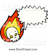 Vector Clip Art of a Flaming Talking Skull by Lineartestpilot