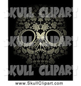 Vector Clip Art of a Floral Day of the Dead Skull in Gold, on Black by Lineartestpilot