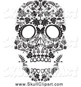 Vector Clip Art of a Flowered Black and White Day of the Dead Skull by Lineartestpilot