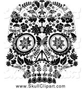 Vector Clip Art of a Flowered Day of the Dead Skull, Black and White by Lineartestpilot