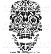 Vector Clip Art of a Flowered Day of the Dead Skull in Black and White by Lineartestpilot