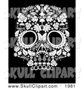 Vector Clip Art of a Flowered Day of the Dead Skull on Black by Lineartestpilot