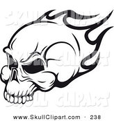 Vector Clip Art of a Flying Black and White Flaming Skull Logo by Vector Tradition SM
